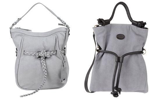 Замшевая сумка для сочетания с серой юбкой