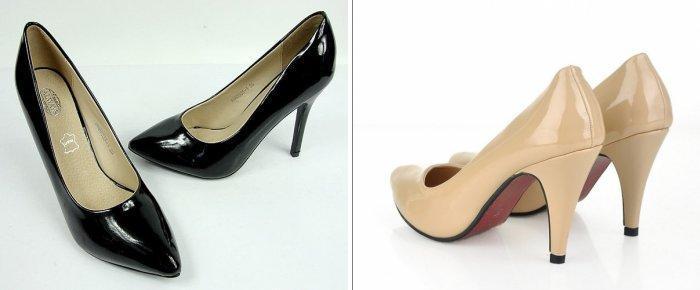 Туфли лодочки для сочетания с серой юбкой