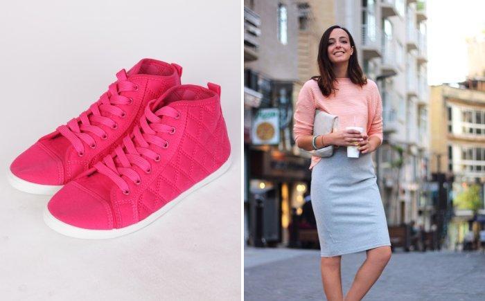 Серая юбка с ярко-розовыми кроссовками