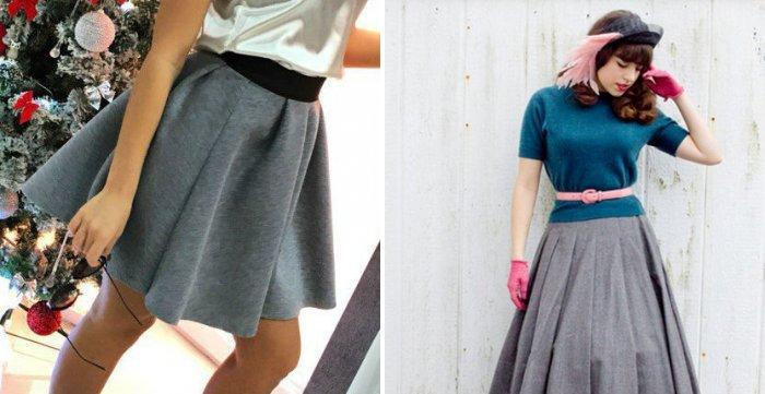 Расклешенная серая юбка