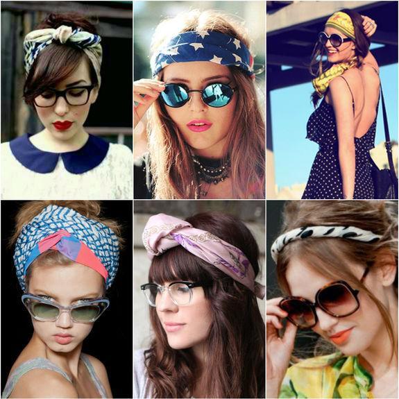 Шейный платок на голове с очками