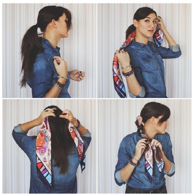 Как завязать шейный платок в косу