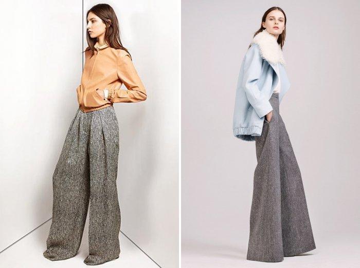 Теплые широкие брюки