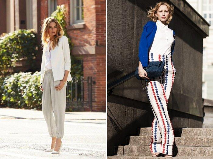 Стильный образ: широкие брюки и белый верх