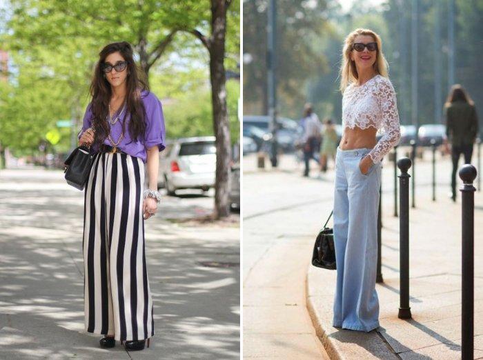 Аксессуары к широким брюкам: однотонная сумка