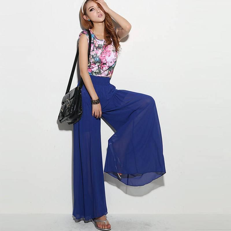 Синие шифоновые брюки