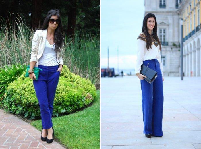Темно-синие стильные брюки с белой рубашкой