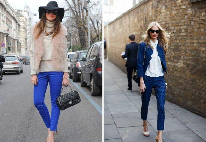 Узкие синие брюки