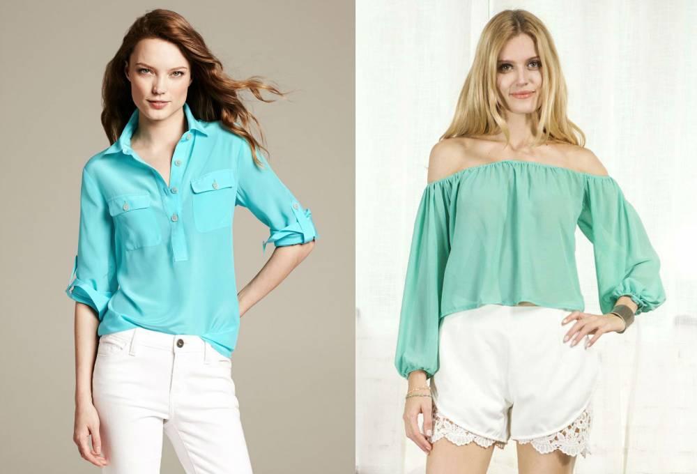 Бледно-бирюзовая блузка