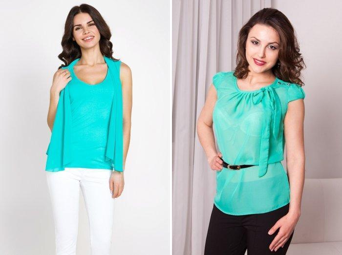 Ярко-бирюзовая блузка
