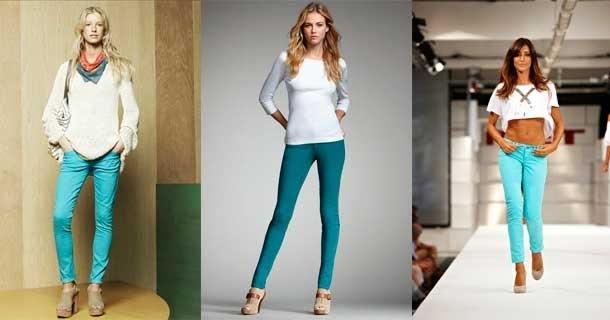С чем сочетать бирюзовые брюки?