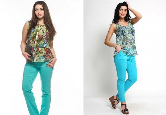 Бирюзовые брюки с яркой блузой