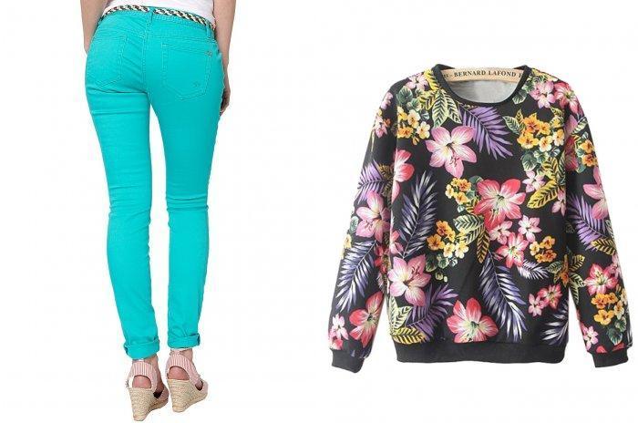 Бирюзовые брюки с ярким свитером