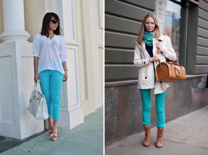 Бирюзовые брюки в сочетании с белым