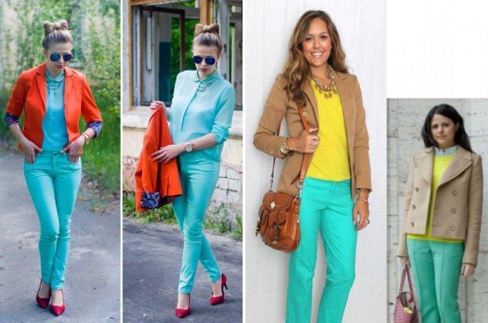 Бирюзовые брюки с оранжевым и желтым
