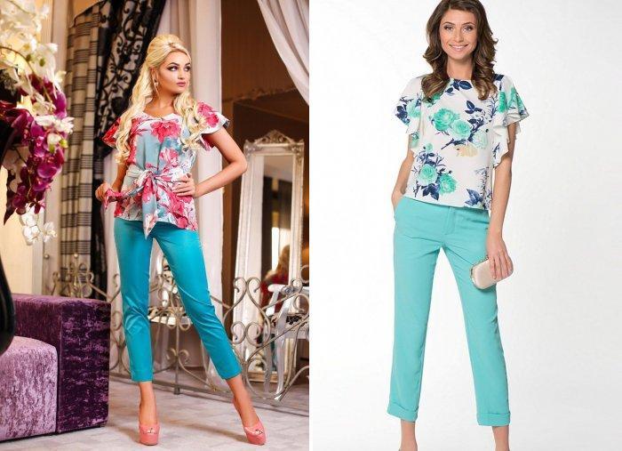 Бирюзовые брюки и блуза с ярким принтом