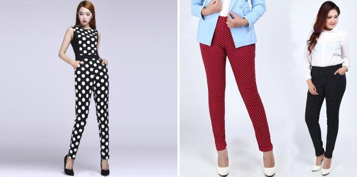 Стильные брюки в горошек