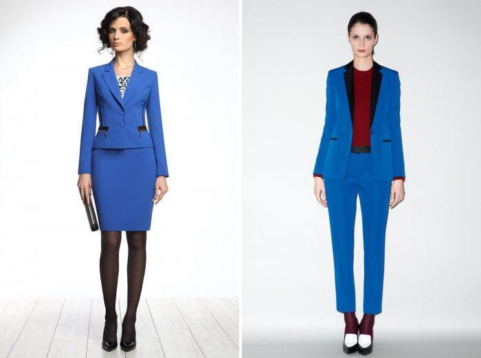 Темно-синие строгие костюмы для офиса