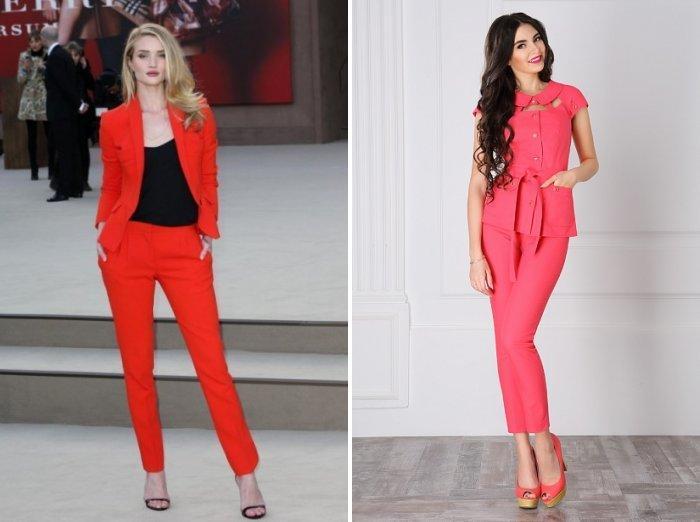 Красный и коралловый деловой костюм