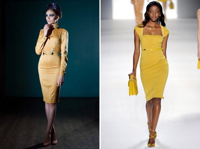 Стильное желтое платье для деловой женщины