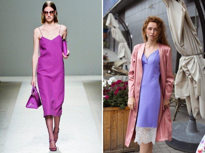 Фиолетовое платье бельевого фасона