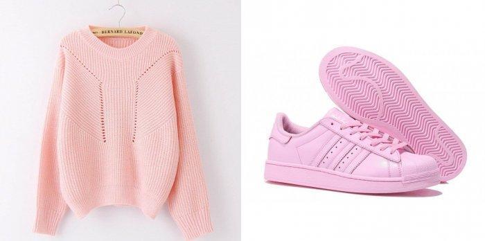 Розовый свитер и кроссовки к фиолетовому платью бельевого фасона