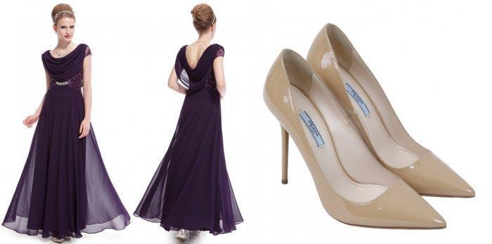 Фиолетовое платье и бежевые туфли-лодочки