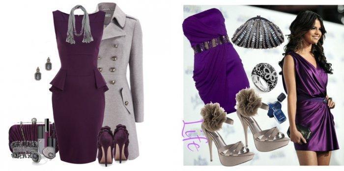 Фиолетовое платье с серым
