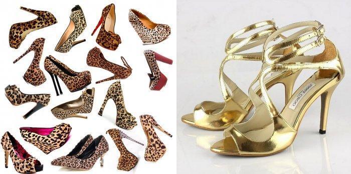 Леопардовые и золотистые босоножки к фиолетовому платью