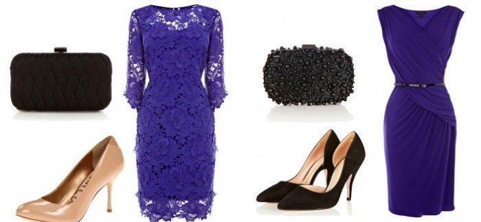 Фиолетовое платье в сочетании с черным