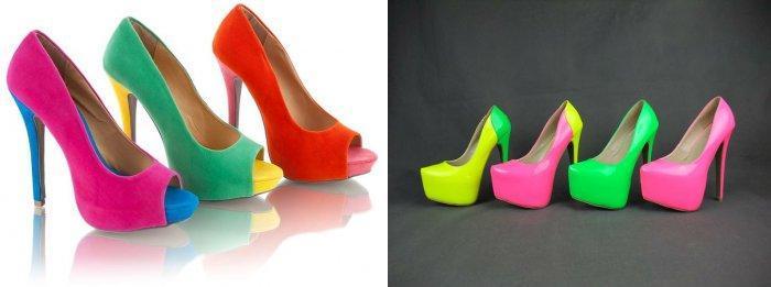 Яркие туфли к фиолетовому платью