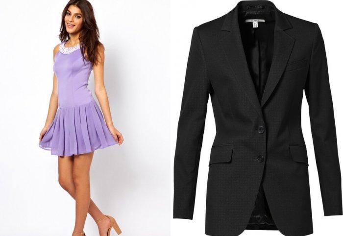 Светло-фиолетовое платье и графитовый пиджак