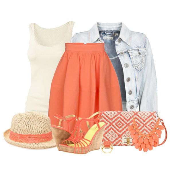 Модная коралловая юбка