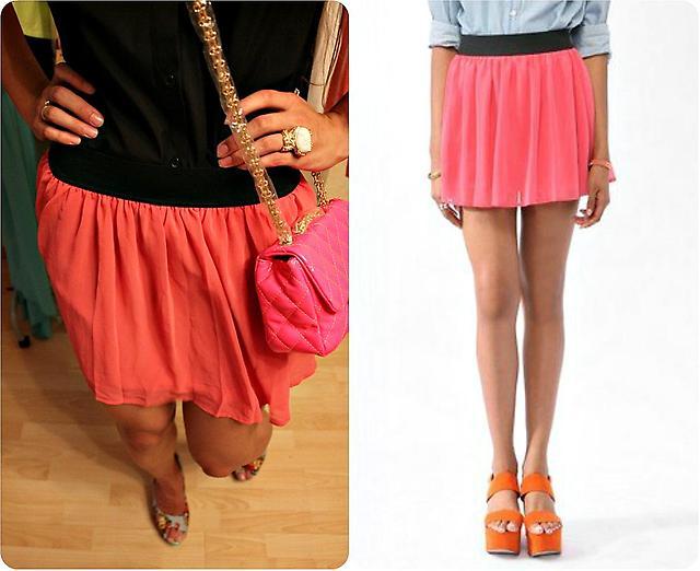 Коралловая юбка с туфлями на платформе