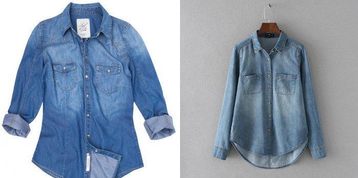 Джинсовая рубашка для коралловой юбки