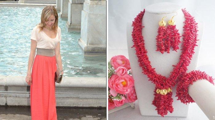Аксессуары кораллового цвета для коралловой юбки
