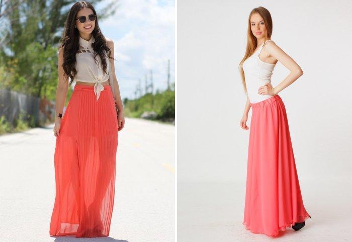Коралловая юбка с бежевым или белым топом