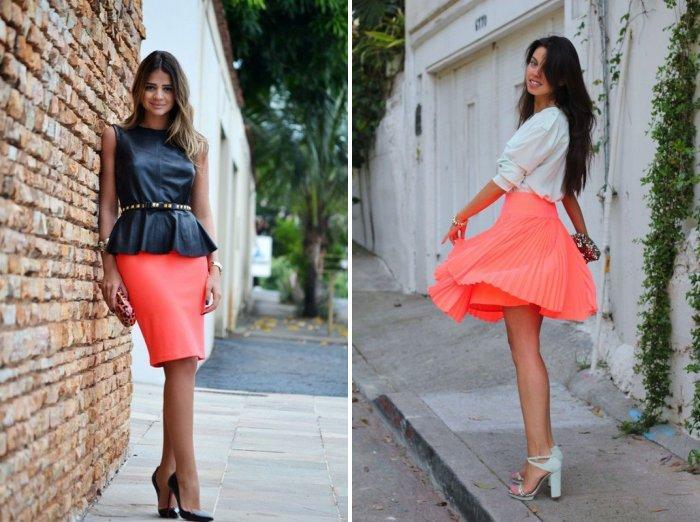Коралловая юбка с черной строгой блузой