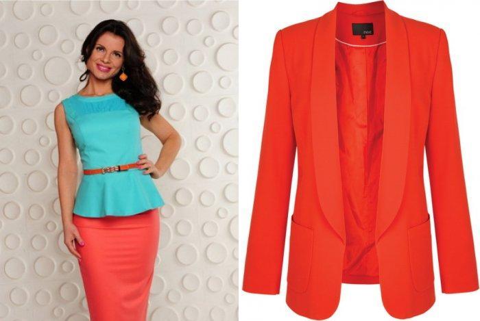 Коралловая юбка в сочетании с аквамариновым и оранжевым