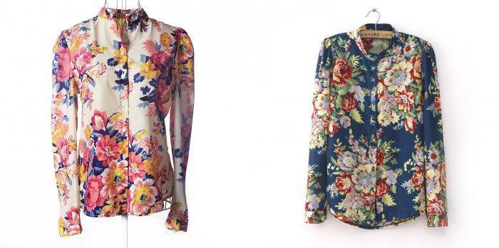 Коралловая юбка в сочетании с блузами с ярким принтом