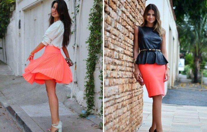 Как и с чем носить коралловую юбку разной длины?