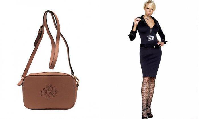 Коричневая сумочка через плечо с деловым костюмом