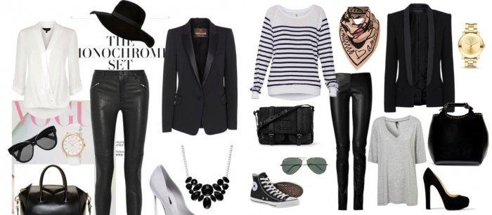 Кожаные леггинсы с черным пиджаком и шляпой