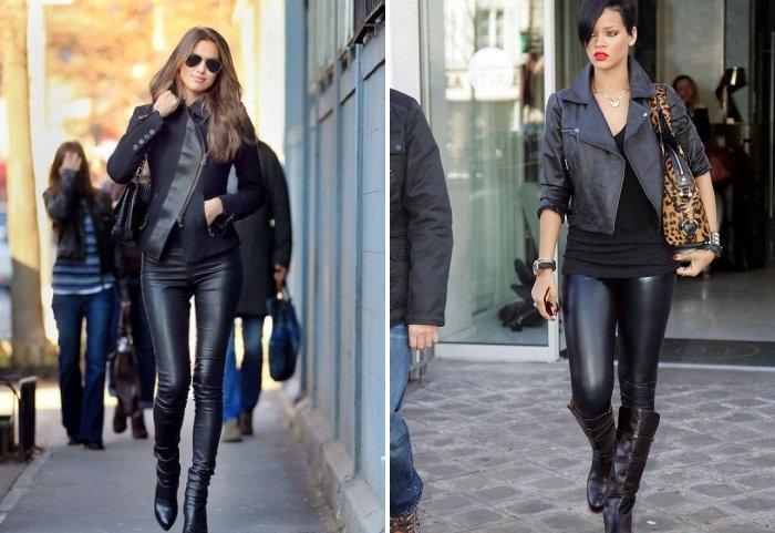 Кожаные леггинсы в сочетании с курткой-косухой