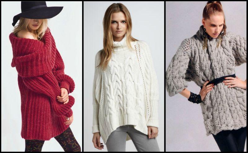 Объемный свитер в сочетании с кожаными леггинсами