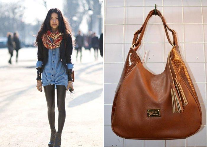 Кожаные леггинсы с рубашкой из денима и объемной сумкой