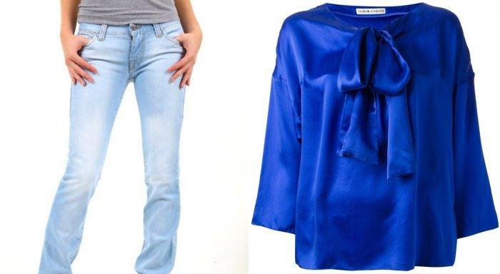 Голубые джинсы и синяя шелковая блуза