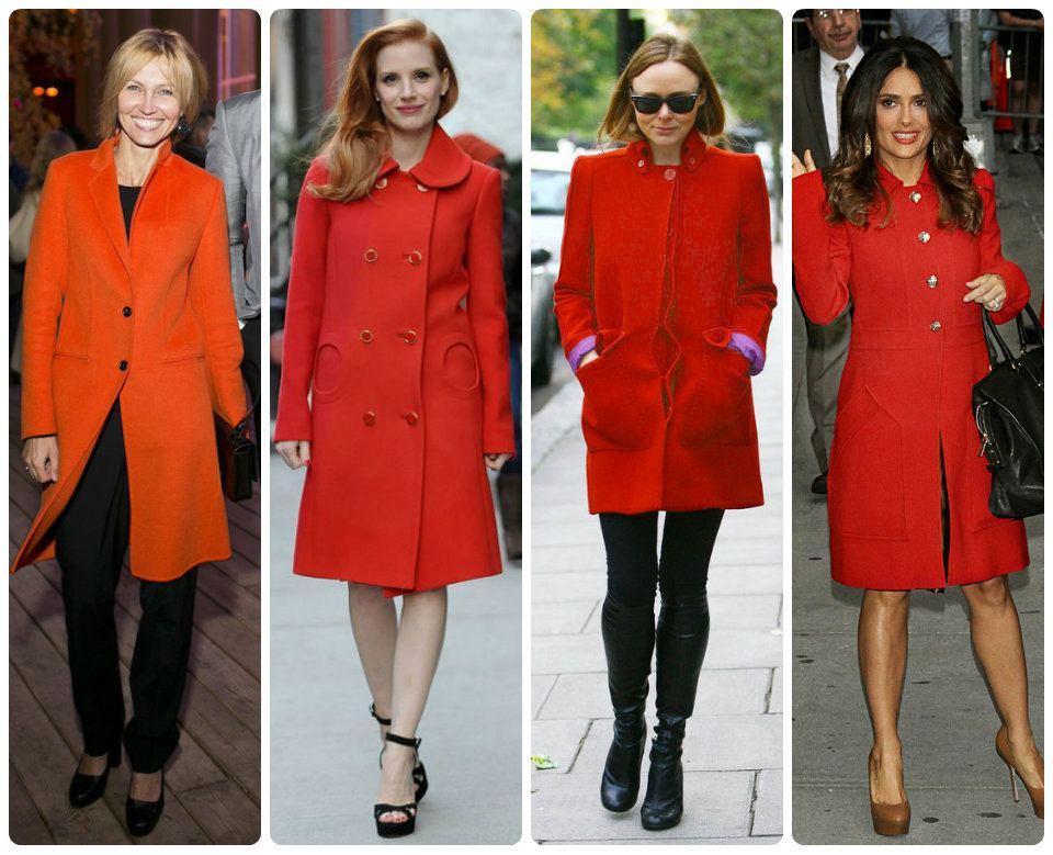 Стильный образ в оранжевом пальто