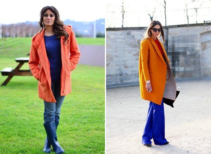 Оранжевое пальто стиля кэжуал