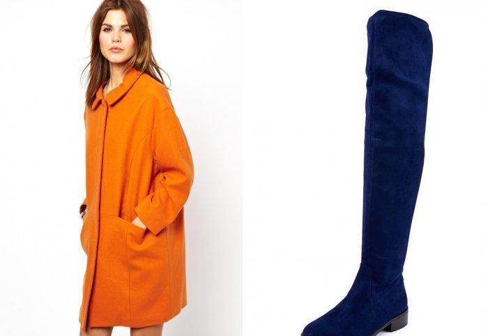 Оранжевое пальто и ярко-синие сапоги